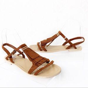H&M Brown Suede Fringe Flat Sandals